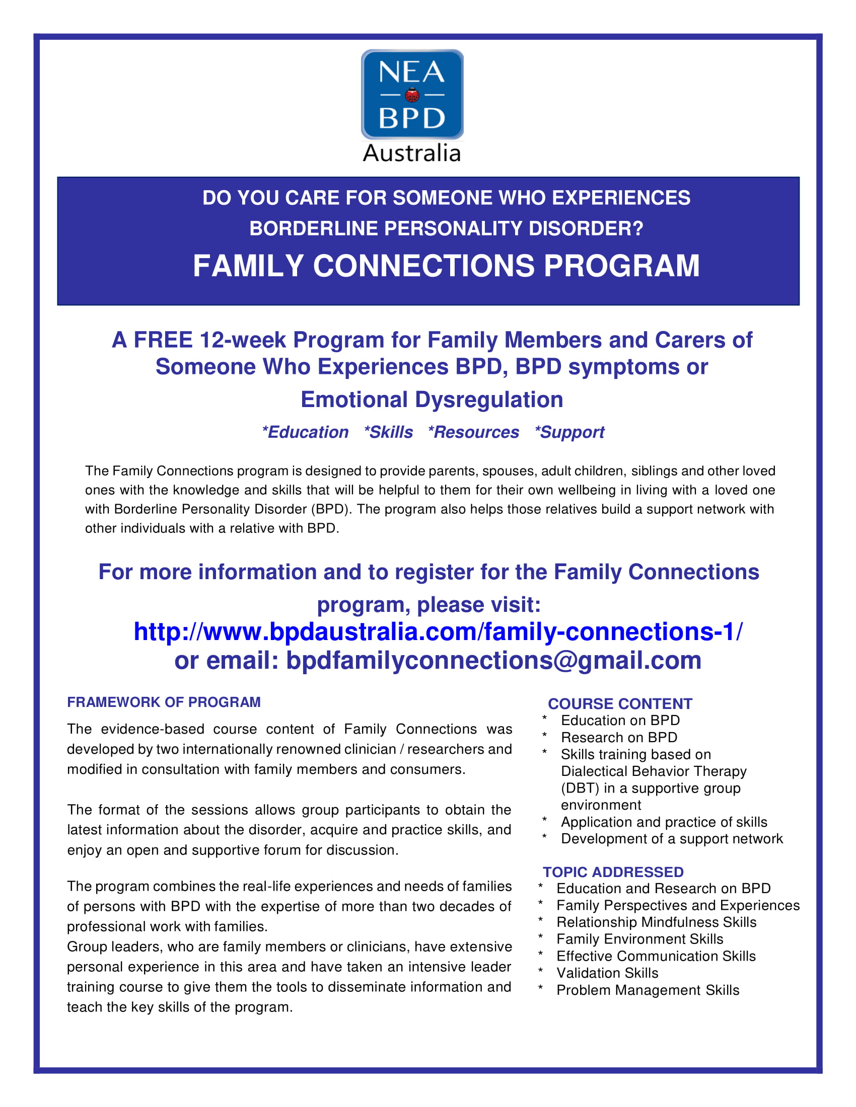 Family Connections Program - Borderline in the ACT